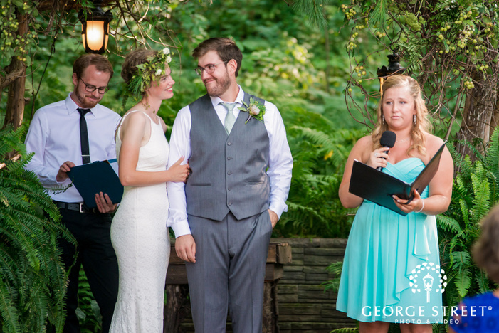 adorable couple near altar wedding photo