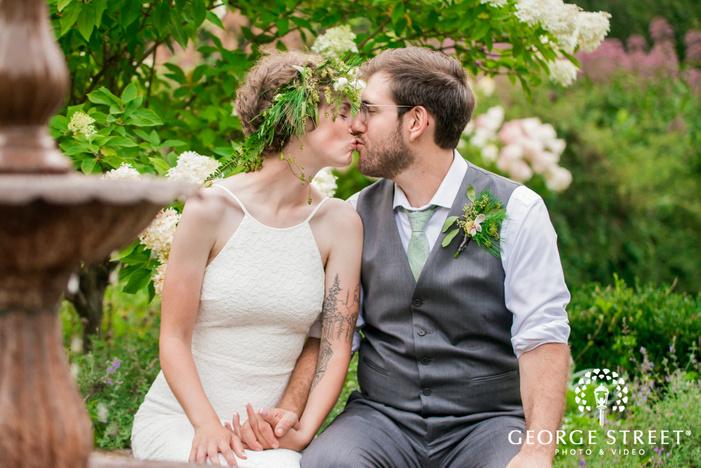 romantic bride and groom near fountain wedding photography