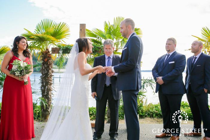 adorable bride and groom ring exchange wedding photos