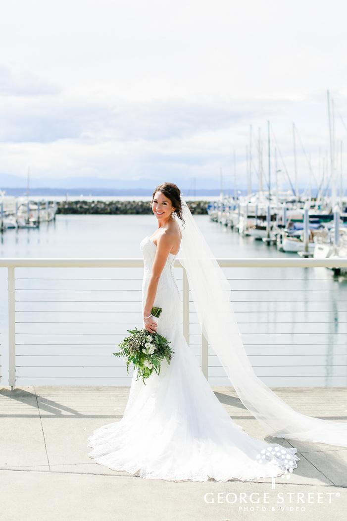 beautiful bride on dock wedding photography