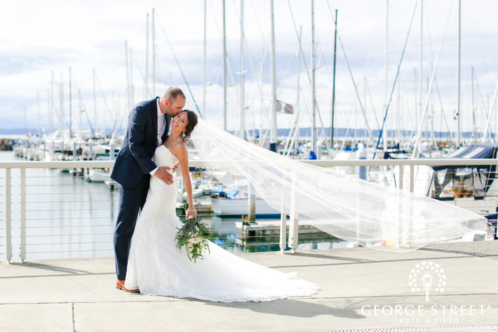 charming bride and groom at harbor wedding photography
