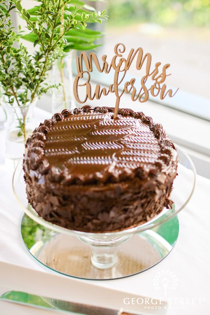 classic single tier chocolate wedding cake wedding photo