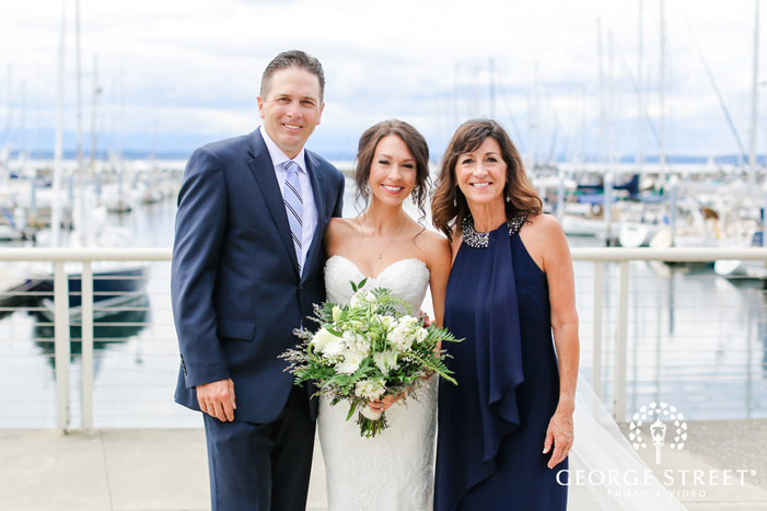 cute bride and parents on marina wedding photography