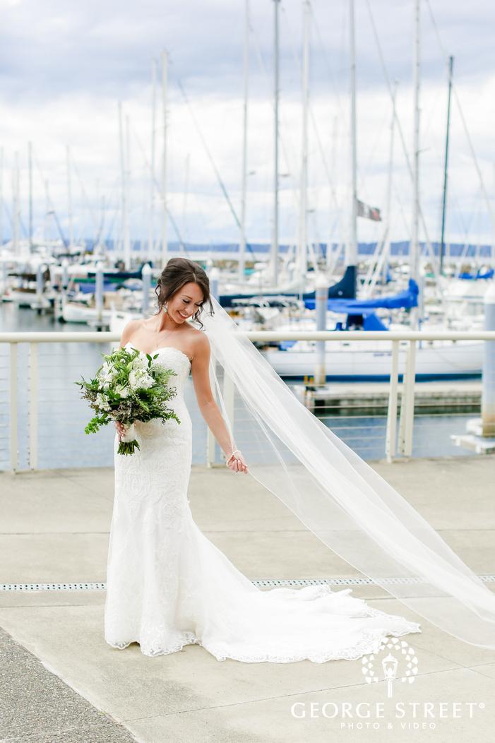 gorgeous bride on dock wedding photography