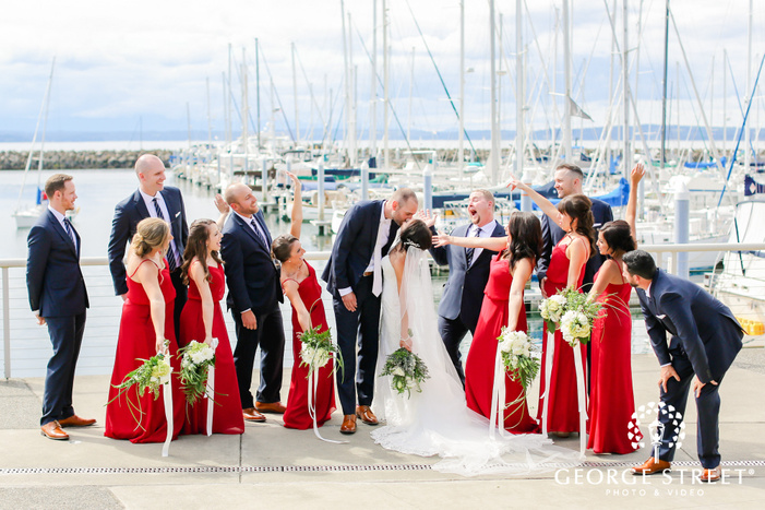 happy group on ramp near ships wedding photography