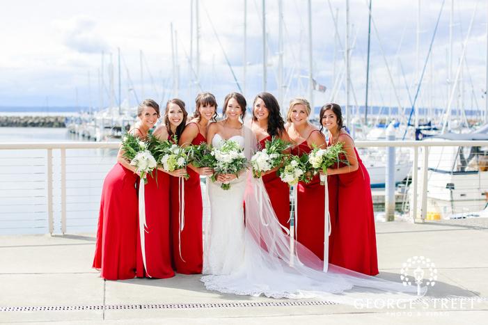 pretty bride and bridesmaids at harbor wedding photography