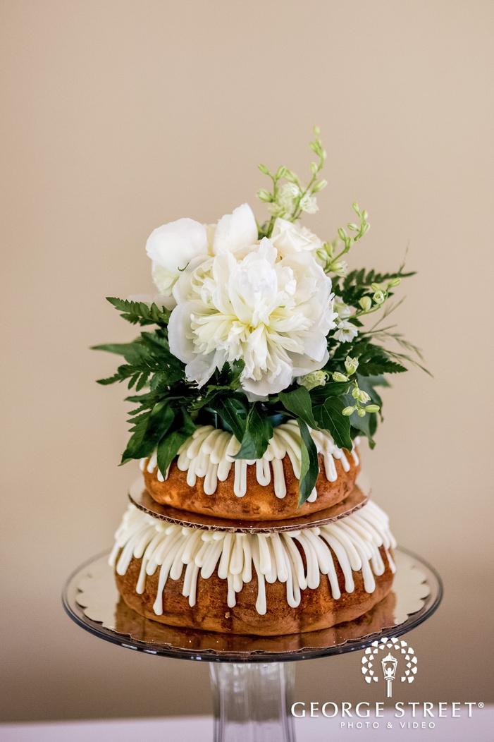 beautiful two tier flowery wedding cake wedding photo