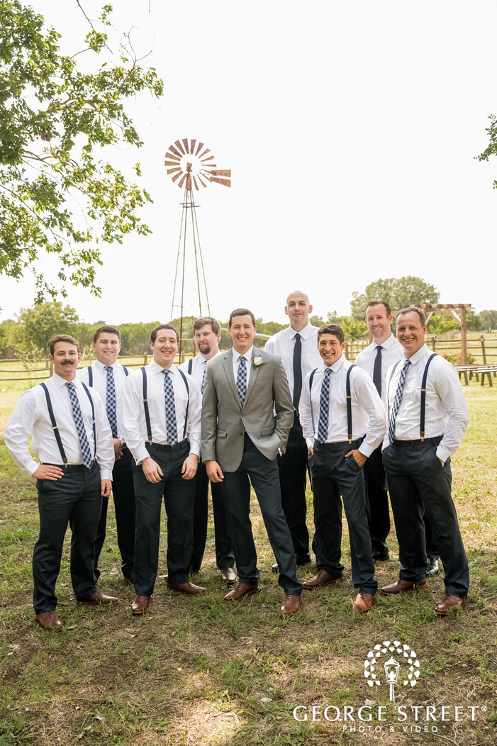 charming groom and group at green lawn in austin wedding photography