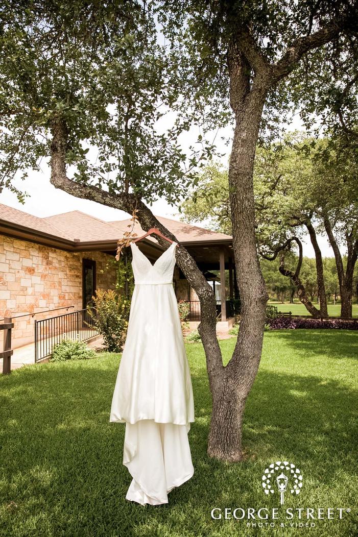 elegant bridal attire at ranch austin wedding venue backyard wedding photo