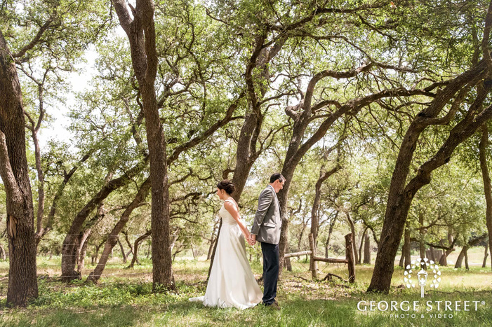excited bride and groom first sight at ranch austin wedding venue garden in austin wedding photography