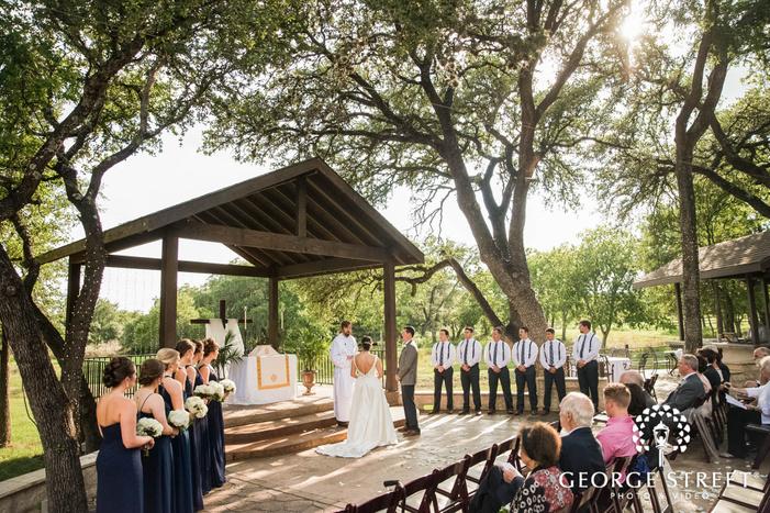 happy wedding ceremony at ranch austin wedding venue wedding photo