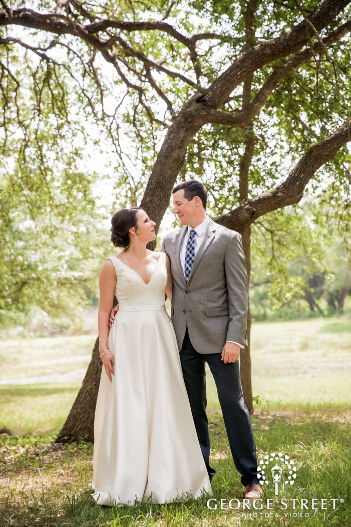 lovely bride and groom first sight in garden wedding photos