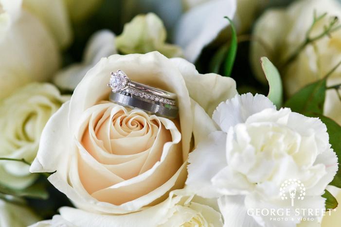 elegant bride and groom rings wedding photo