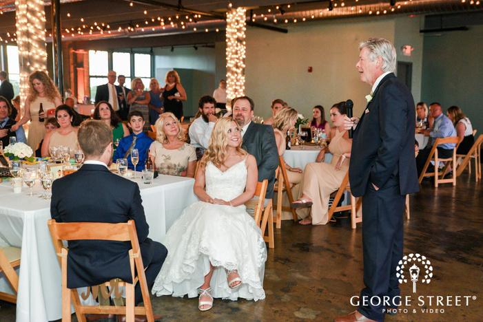 happy bride father speech in reception at NEO on locust  LLC in st louis