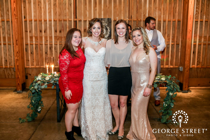 cute bride and guests in reception hall wedding photography