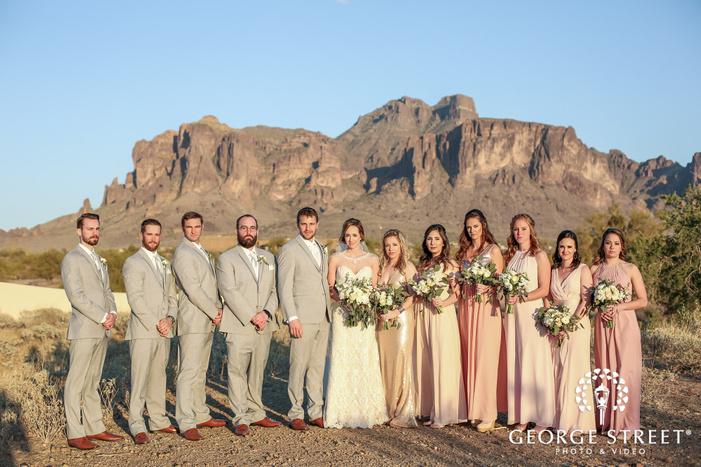 happy group in desert wedding photography