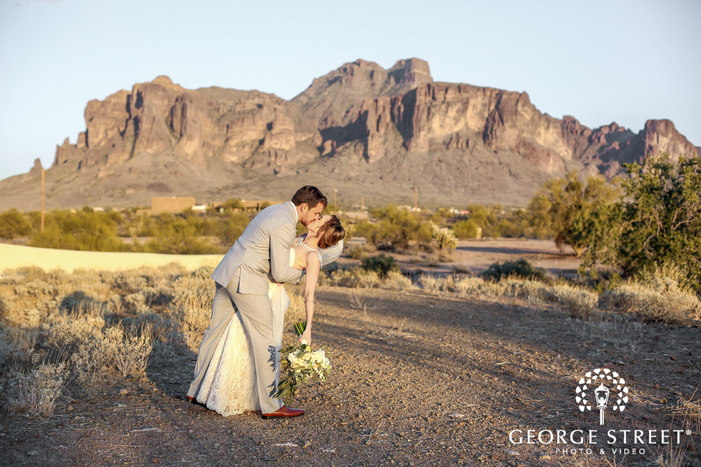 romantic bride and groom near rocky mountains at the paseo in phoenix