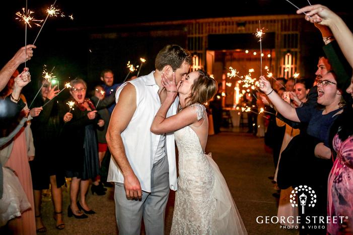 romantic bride and groom sparkle send off wedding photos
