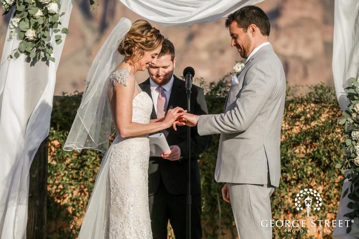 sweet bride and groom ring exchange wedding photos