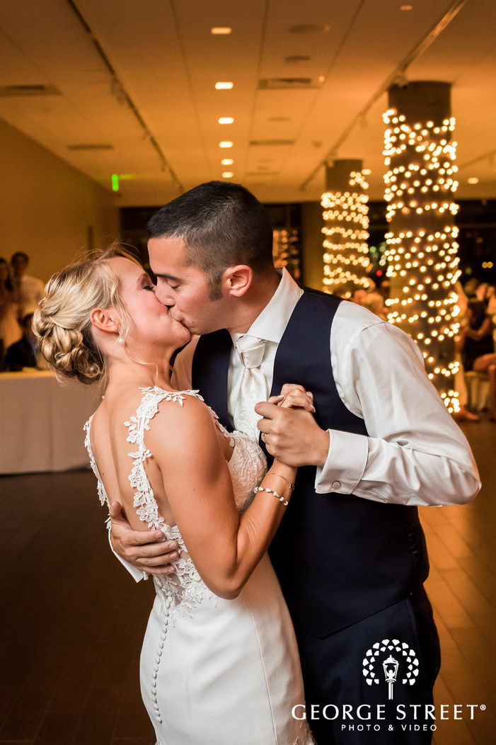 charming bride and groom first dance wedding photo