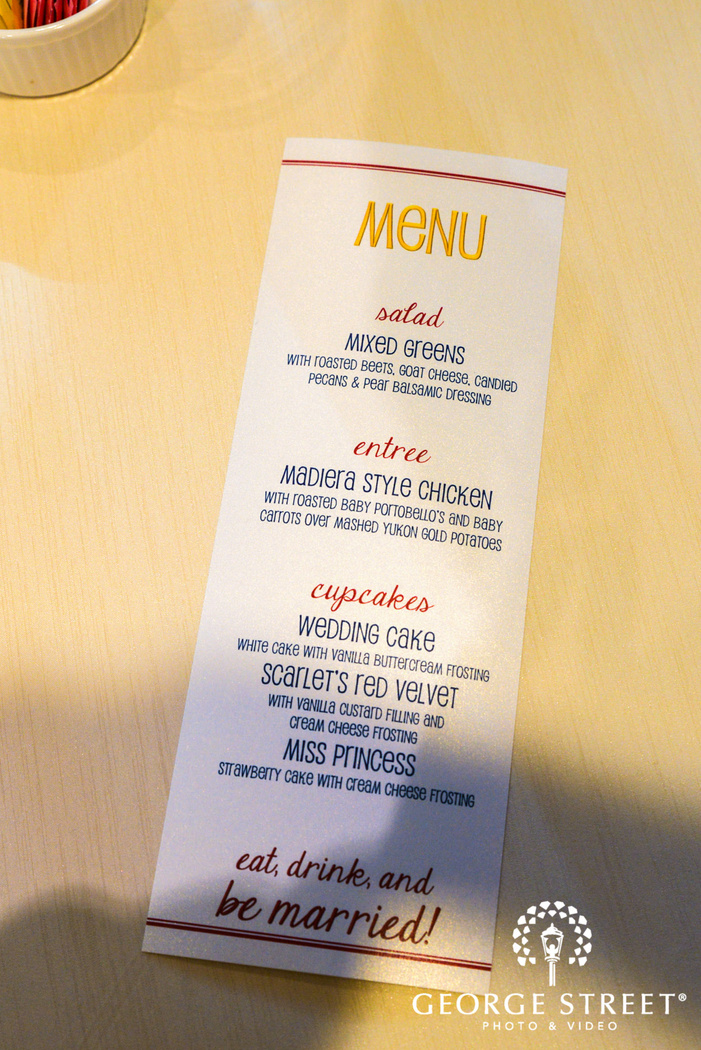 classic reception menu card wedding photo