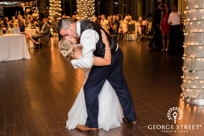 romantic bride and groom first dance at history colorado center in denver