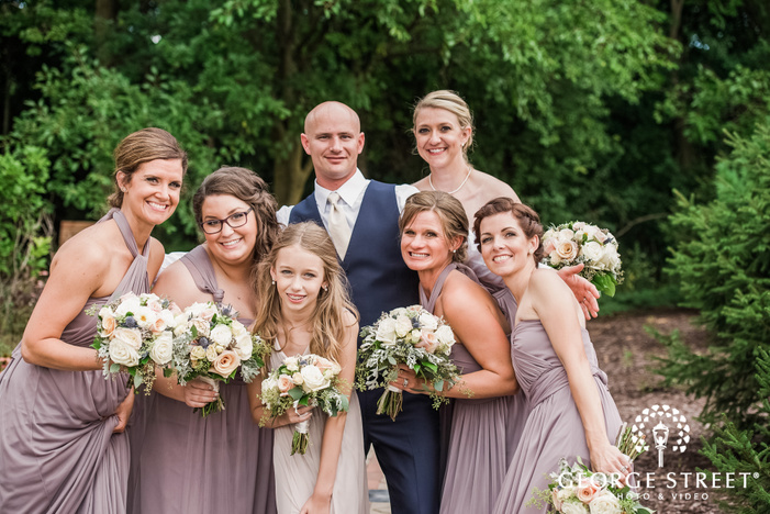 handsome groom and bridesmaids