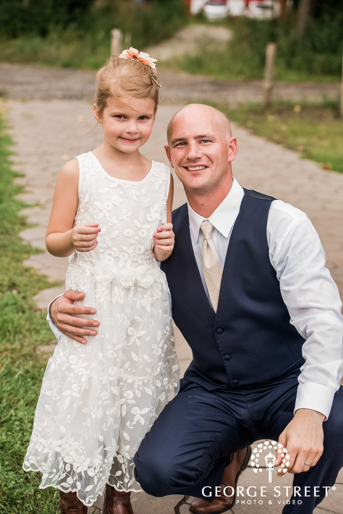 happy groom and lovely child