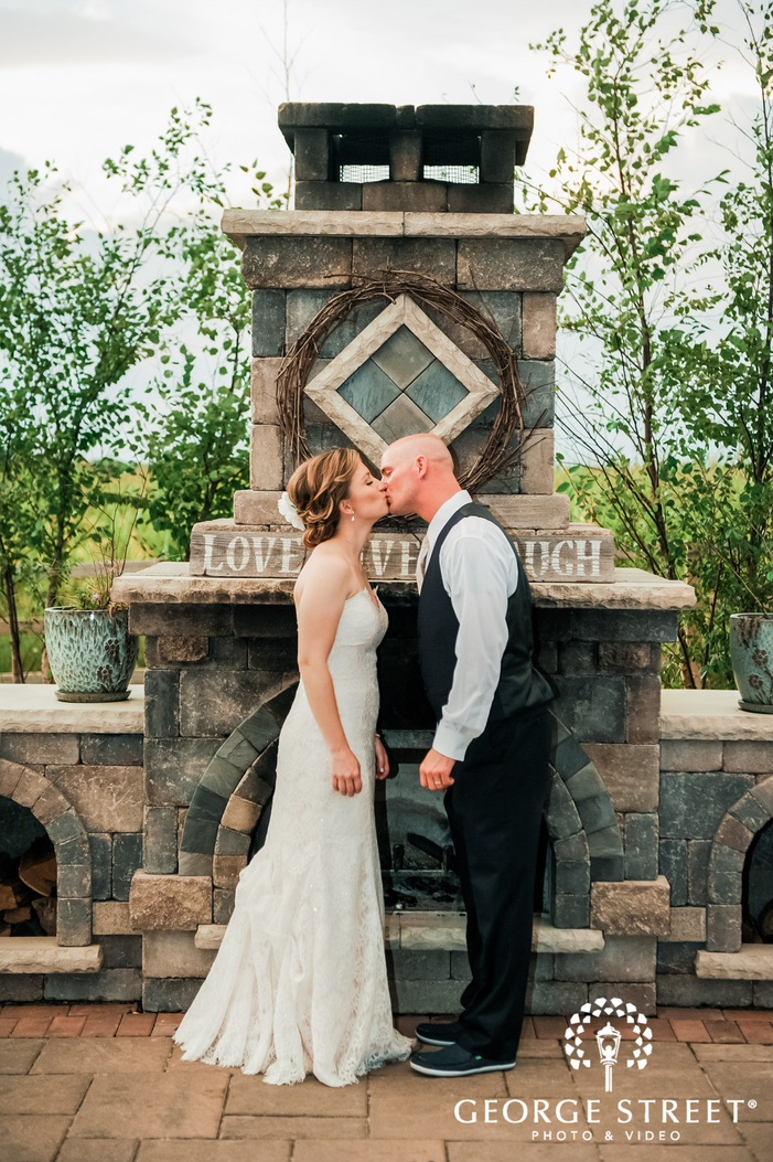 lovable bride and groom at abbey farms in chicago