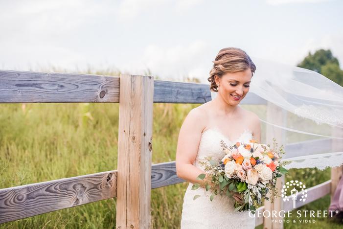 lovely bride in garden wedding photo
