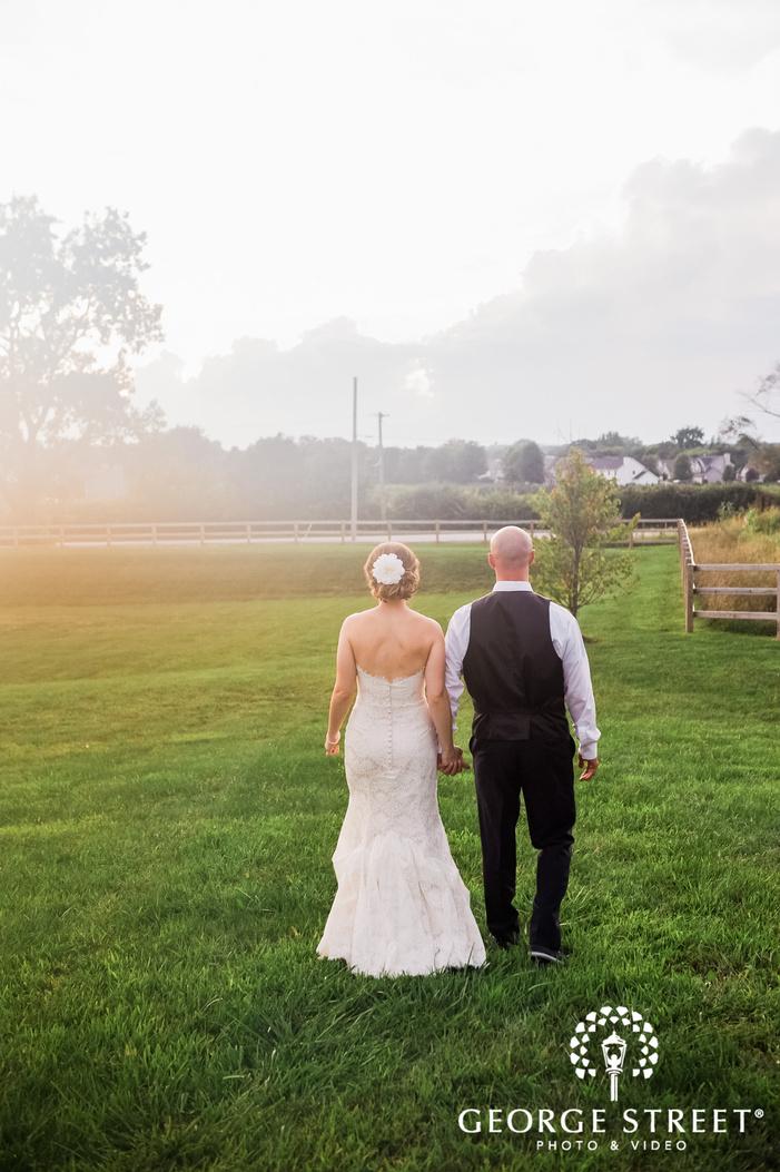 mesmerizing bride and groom in yard