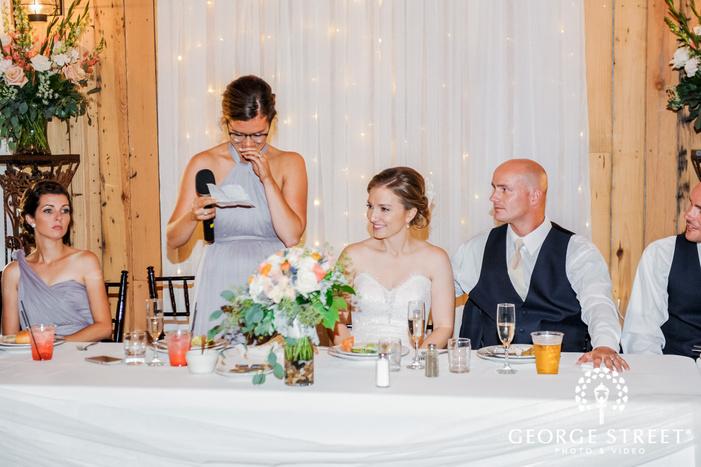 ravishing bride and groom during reception toast