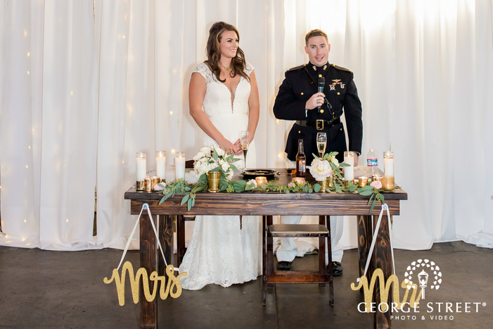 charming couple reception speechat brick in san diego wedding photos