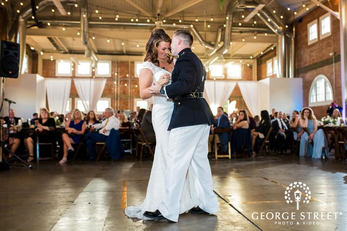 joyous couple on dance floor in san diego wedding photo