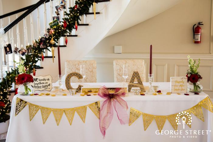 classy reception decor detail