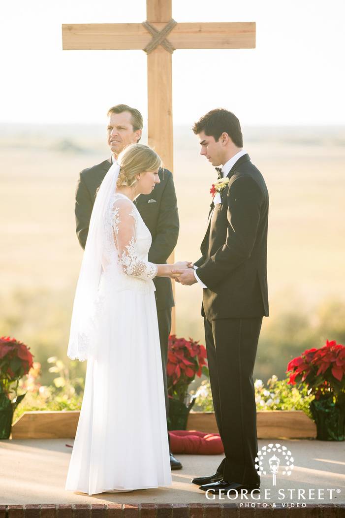 lovely bride and groom at wedding ceremony