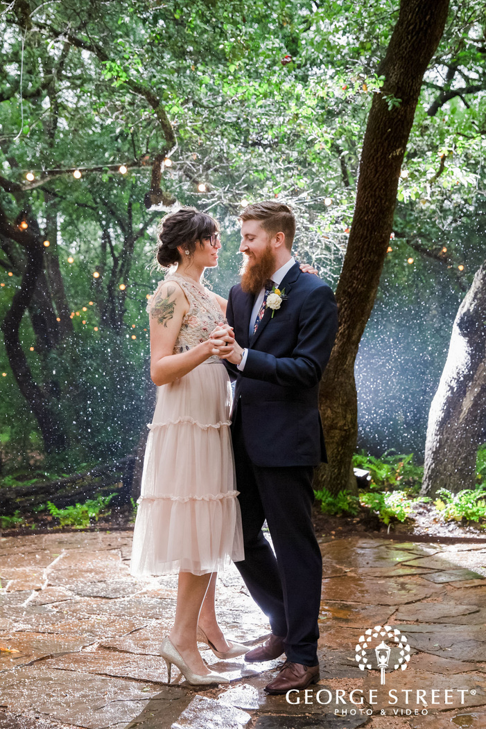 adorable bride and groom on dance floor wedding photo