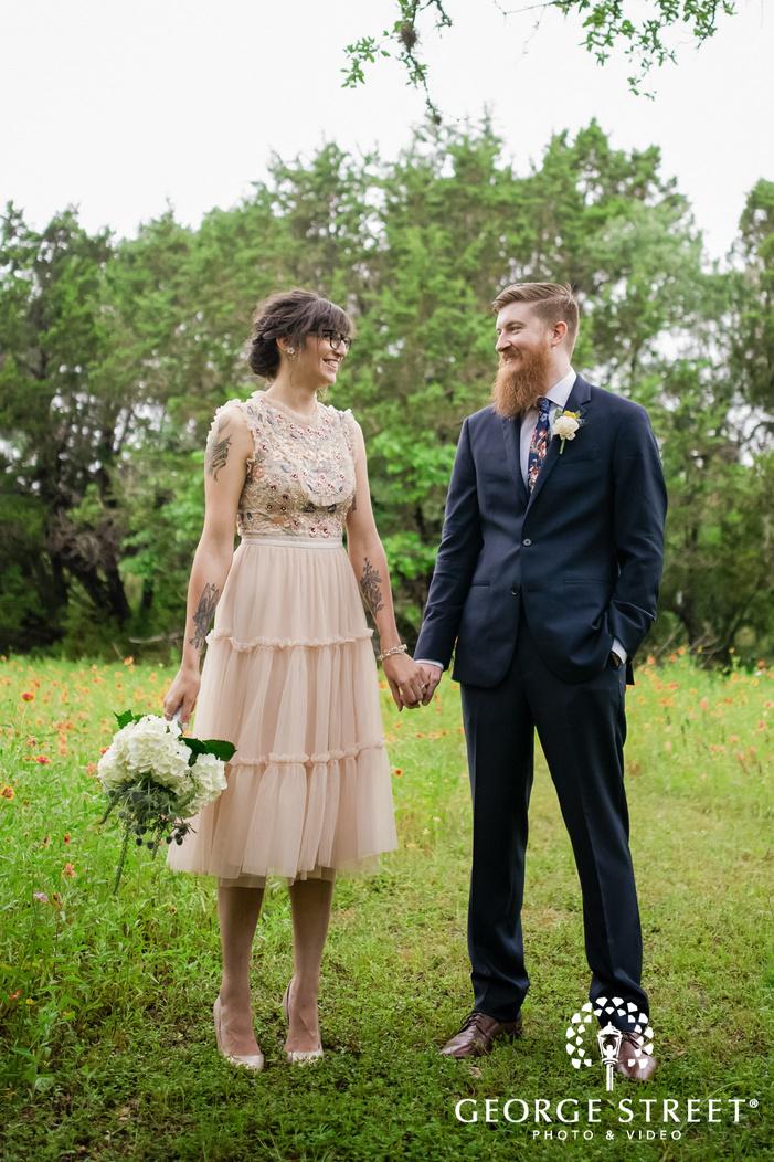 adorable couple in garden wedding photography
