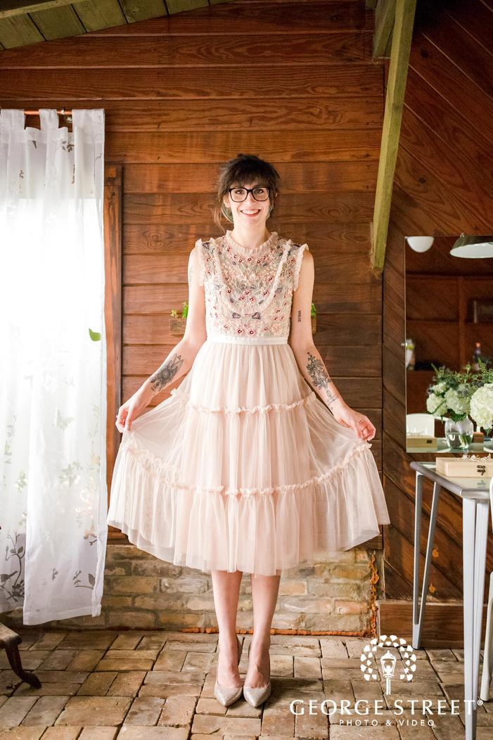 beautiful bride in barn wedding photo