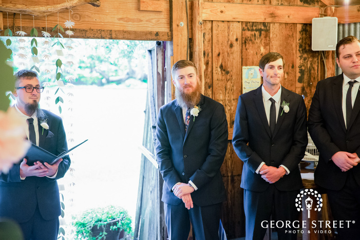 handsome groom first look wedding photos