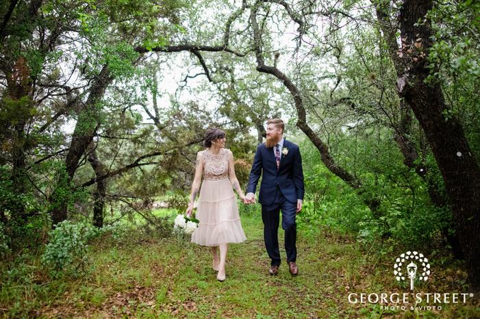 happy bride and groom on pathway wedding photo