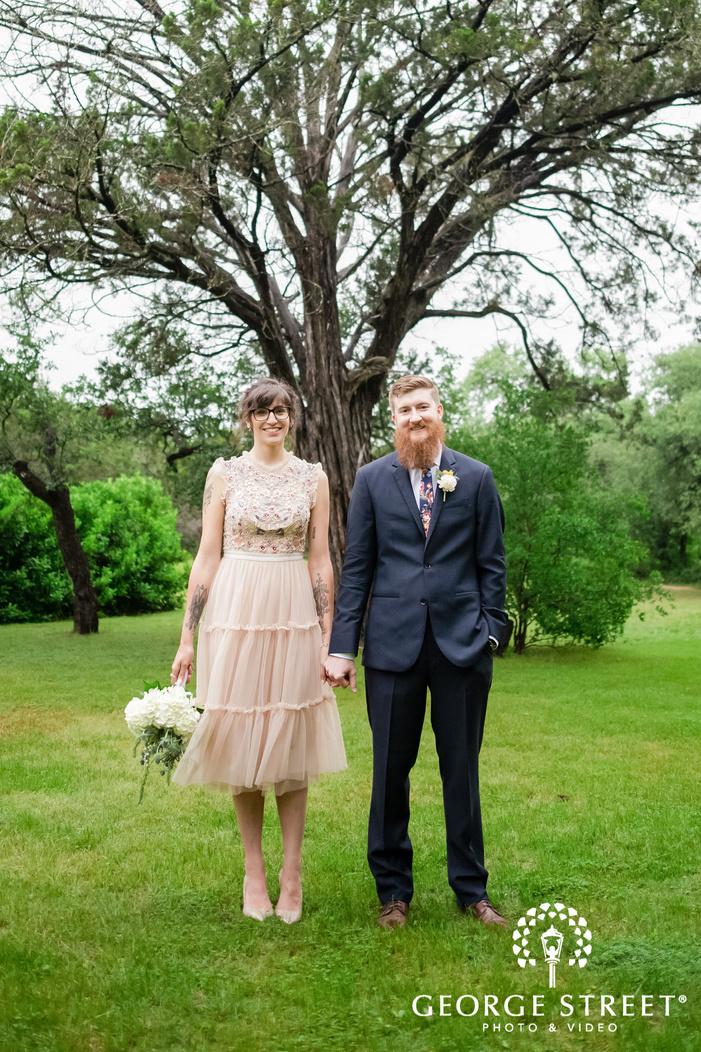 lovely couple in garden wedding photo