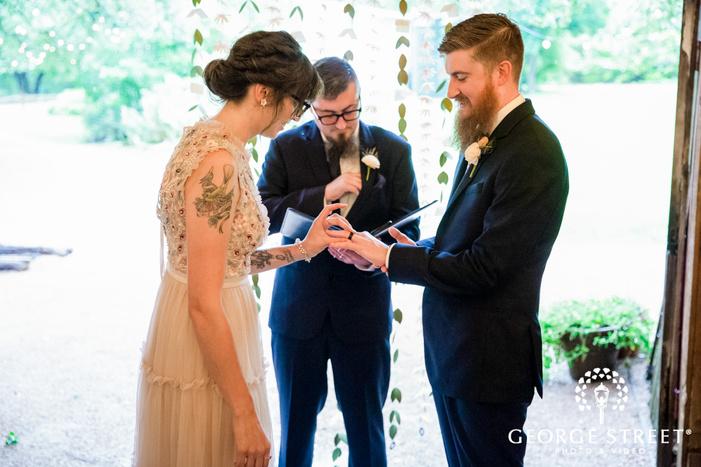 sweet bride and groom ring exhcange ceremony wedding photography