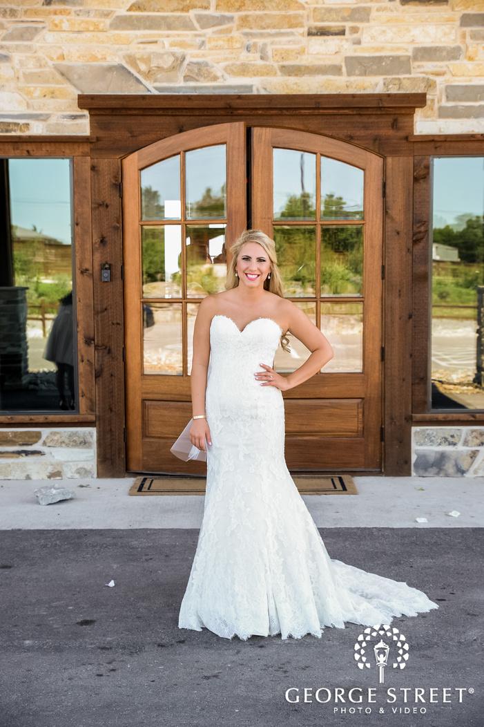 beautiful bride at entrance door wedding photography