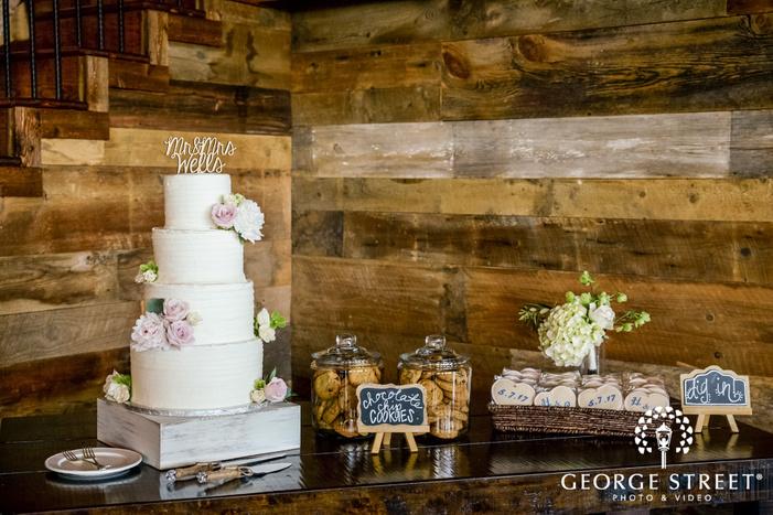 elegant four tier flower wedding cake table wedding photo