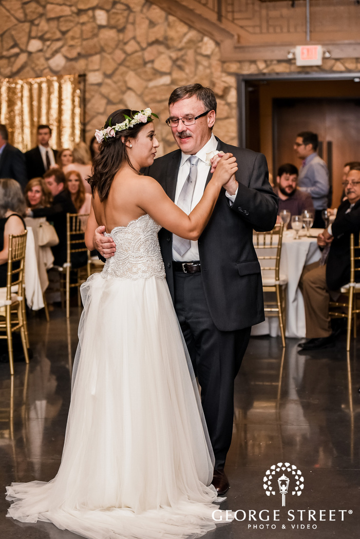 happy bride and father dance on reception wedding photos