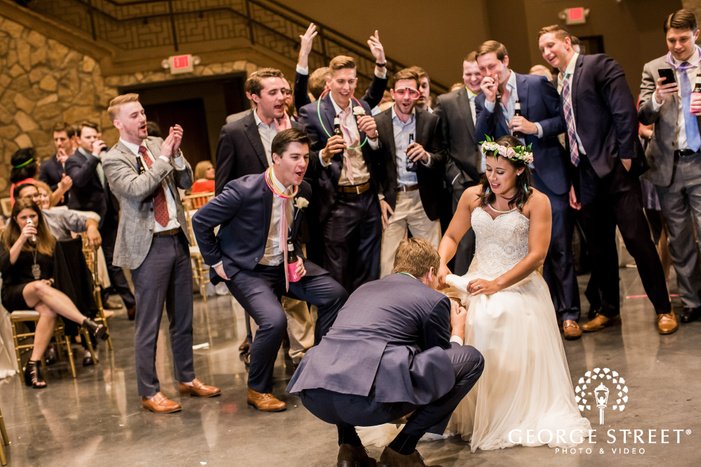 romantic bride and groom on reception game in dallas fort worth
