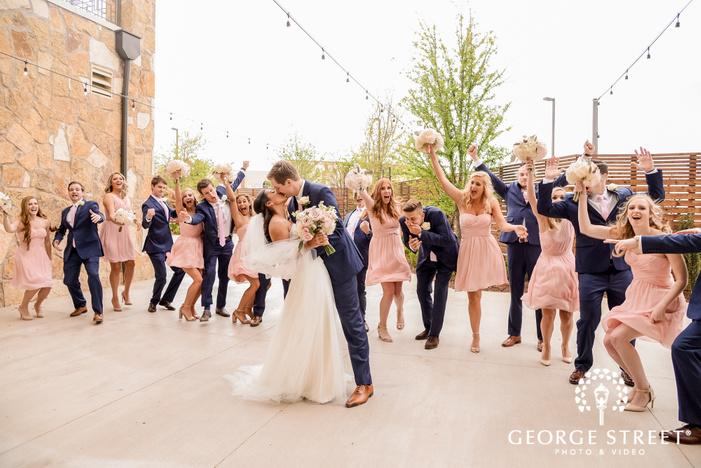 romantic couple with bridesmaids and groomsmen wedding photos