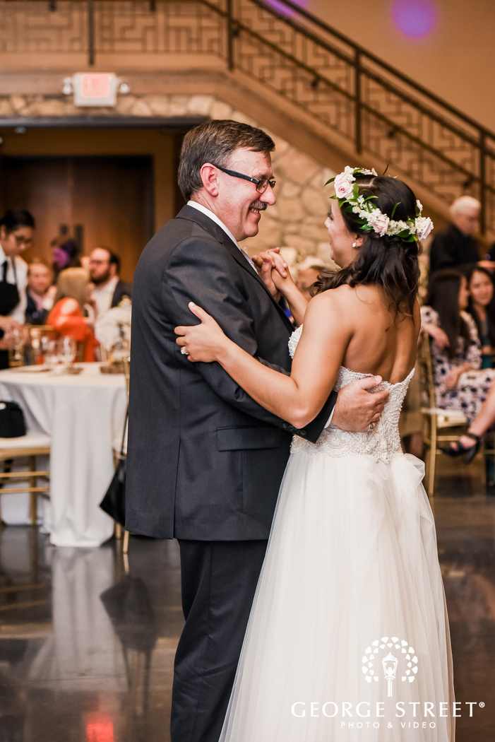 sweet bride and father dance on reception