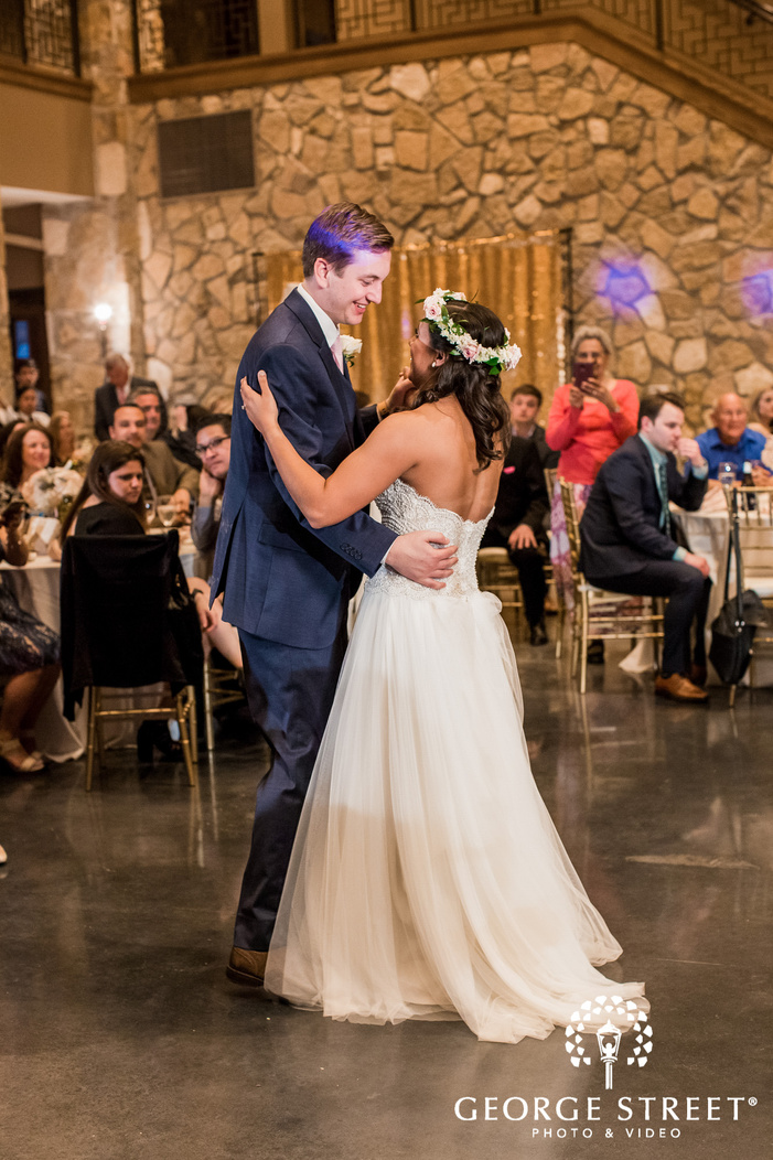 sweet bride and groom dance at verona villa in dallas fort worth